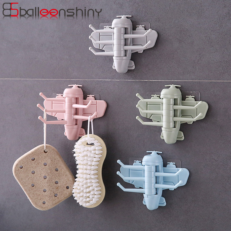 BalleenShiny PP Airplane 5 Storage Hooks Creative Rotatable Gadgets Hanger Wall Adhesive Brush Bag Hats Holder Decorative Hook image
