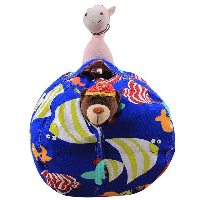 Extra Grande Pufe De Armazenamento Organizador Brinquedo Enchido Animal em Forma de Esfera com Alça (Azul F, Tamanho: 18 polegada)