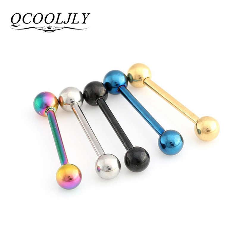 QCOOLJLY 1 PC 2 サイズ 5 色舌ピアスセプタム産業バーベル肉トンネル耳栓耳パンダボディ宝石類
