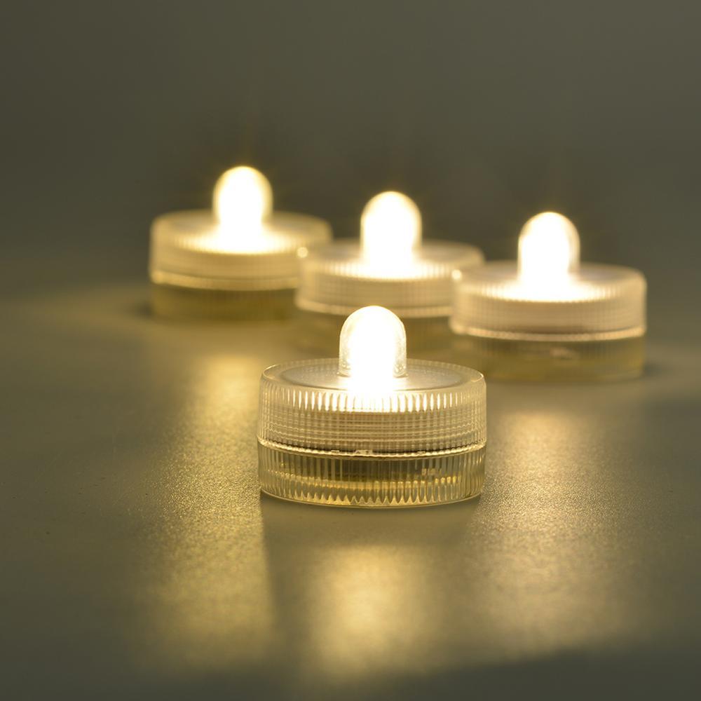 20pcs  White Submersible Waterproof Wedding Decor Party Tealight Flameless Candles Wedding Party LED Light Aquarium