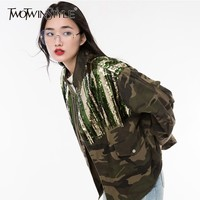 TWOTWINSTYLE Camouflage Denim Jackets For Women Long Sleeve Drawstring Patchwork Sequins Coats Female Fashion 2018 Autumn Tide