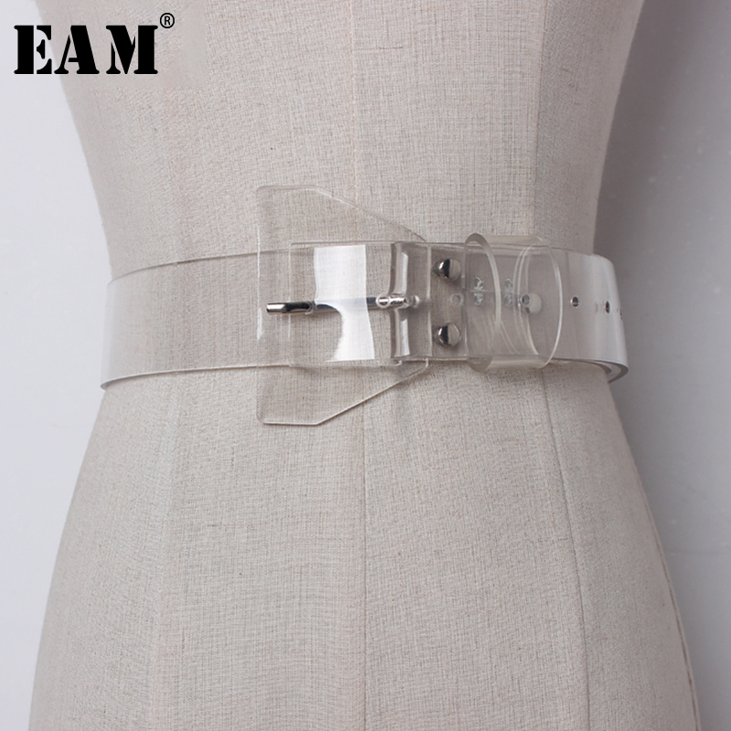 [EAM] 2020 New Spring Transparent Plastic Solid Color PVC Material Women Belt Fashion Tide All-match Casual AJ07200