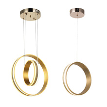 Novelty led pendant lights for living room dining room  Circle Rings LED Lighting ceiling Lamp fixtures Gold Color недорого