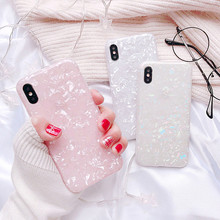 Simple Glitter Phone Case For iPhone 8 Plus Dream Shell Pattern Cases XR XS Max 7 6 6S Soft TPU Silicone Cover