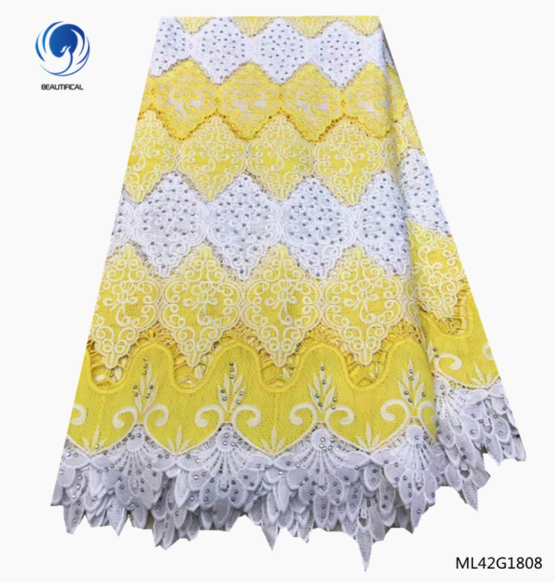 BEAUTIFICAL yellow guipure lace fabric high quality lace fabric online with rhinestones 2019 guipure cord lace ML42G18BEAUTIFICAL yellow guipure lace fabric high quality lace fabric online with rhinestones 2019 guipure cord lace ML42G18