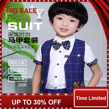 Baby Suits Kids Vest Suits (shirts +Bowtie +Vest + pant ) Brithsh Plaid Kids Party Dress Flower Girl Dresses цена и фото