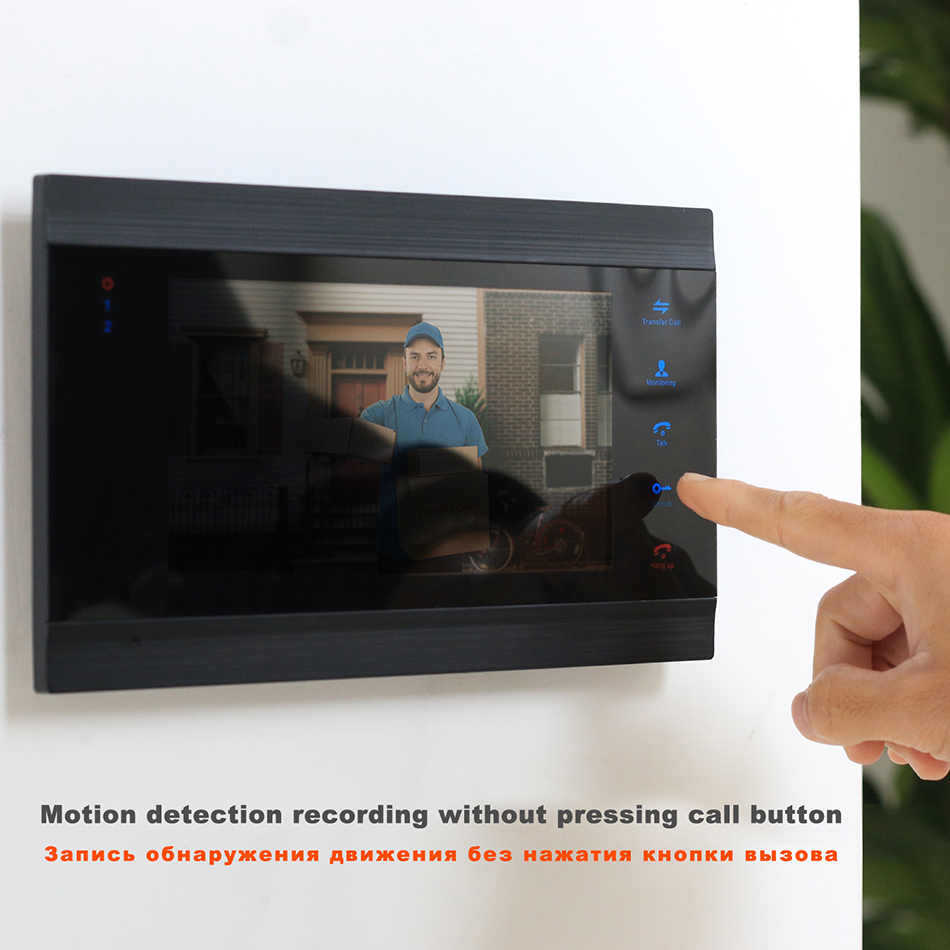 Homefong Video Door Phone Pintu Intercom 7 Inch Monitor Built-In Power Supply Malam Visi Kabel Interkom Video untuk Keamanan Rumah