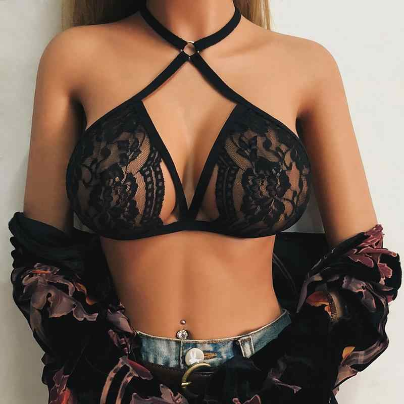 2019 Women Summer Sexy Ultra-thin Temptation Bra Perspective Hollow Out Lace Top Halter Strap Bra Erotic Accessory Transparent