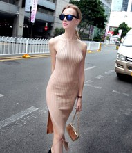 2019 Fashion Women Knitted Halter Neck Summer Dress Sleeveless Split Bodycon Sexy Solid Maxi