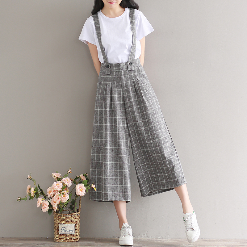 Able #1166 Summer Lattice Wide Leg Pants School High Waist Vintage Harajuku Rompers Womens Jumpsuit Large Size Overalls For Women Jumpsuits