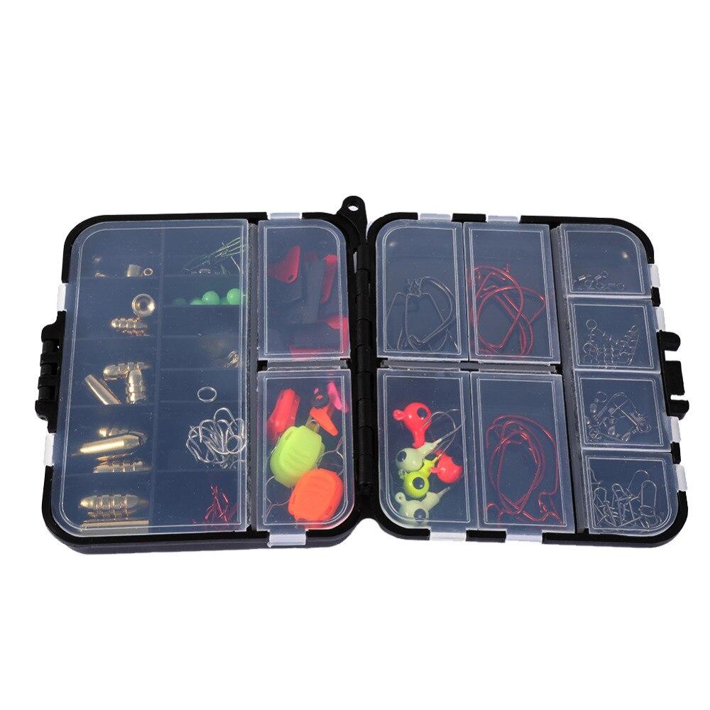 127pcs/box Fishing Tackle Box Fishing Baits Hooks Kit 12.2*10.5 *3.4 cm Lure Fishhook Tackle Set Fishing Accessories thumbnail