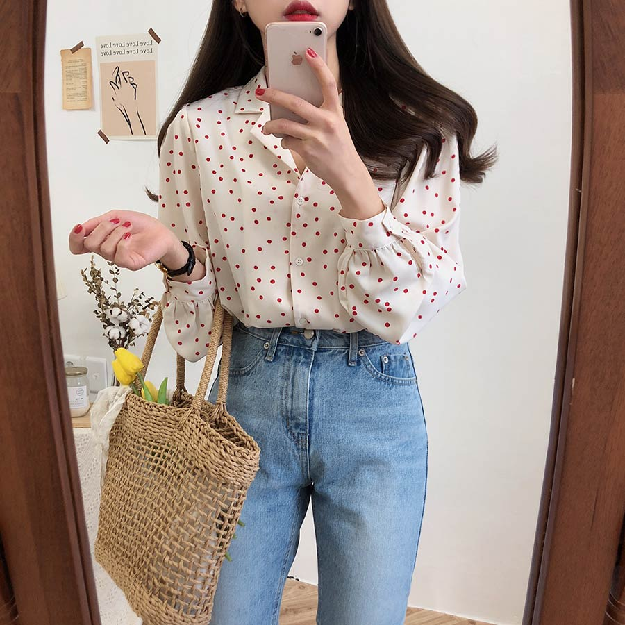 S-XL Spring femme Casual print Women   Shirts   Loose Long Sleeve Patchwork Women dot   Blouses   Female Top vetement femme