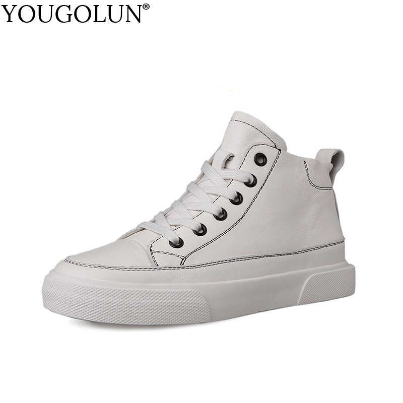 YOUGOLUN New unisex casual flats shoes lace up women walking shoes genuine leather shoes high top