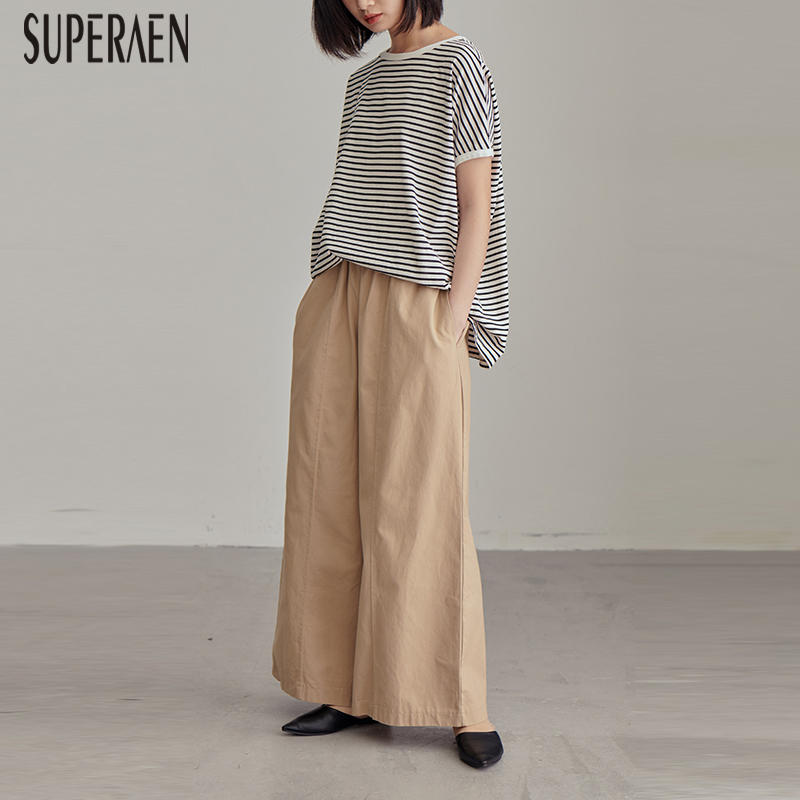 SuperAen 2019 Spring and Summer New Korean Style Women Long   Pants   Solid Color Cotton High Waist   Wide     Leg     Pants   Female