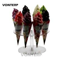 HMROVOOM Transparent 8 Holder round Acrylic Ice Cream Cone stand/ ice cream stand
