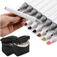 Durable 80 Colors Alcohol Markers Dual Head Sketch Markers Brush Pen Set For Drawing Manga Design Art Supplies