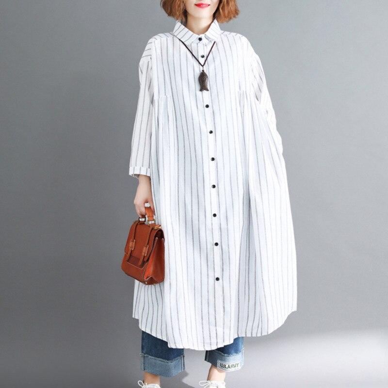 #5799 Cotton Linen Vertical Stripe Long Shirt Women Lapel Collar Large Size Loose Back Ruffle Draped Shirts Loose White/Black