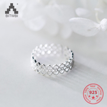 Korea New Design S925 Sterling Silver Simple Fashion Lace Hollow Heart Open Ring Jewelry for Women