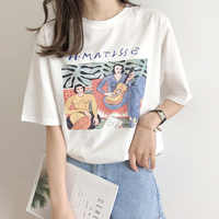 Vintage Print O Neck Kurzarm Frau Baumwolle T-shirt Mode 2019 Casual Lose Mädchen Sommer Baumwolle Tees Pullover