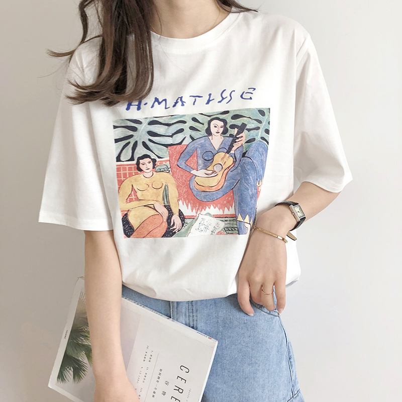 Vintage Print O Neck Short Sleeve Woman Cotton T-shirt Fashion 2019 Casual Loose Girls Summer Cotton Tees Pullovers