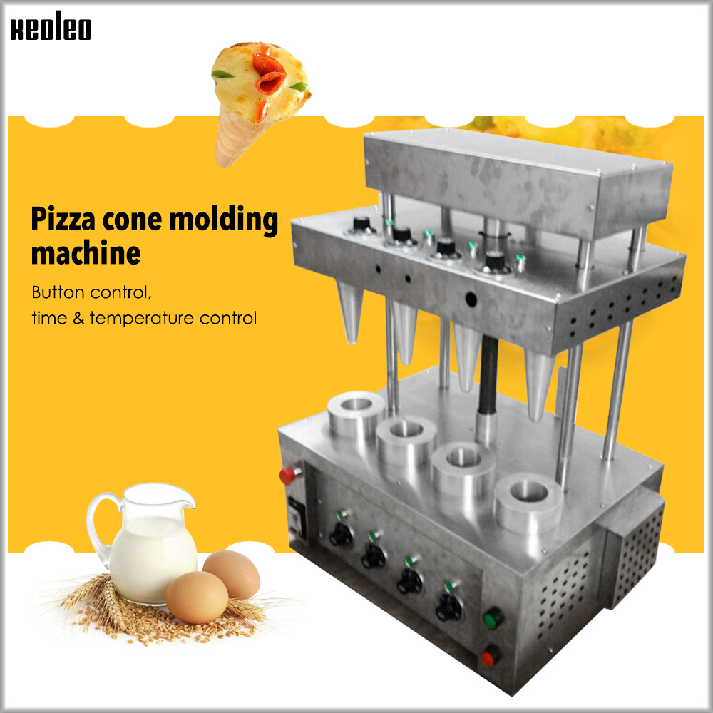 XEOLEO Pizza Cone Machine 4pcs/ Setstainless Steel Pizza Moulding Machine 4750W Commercial Pizza Cone Molding Machine 220V/110V