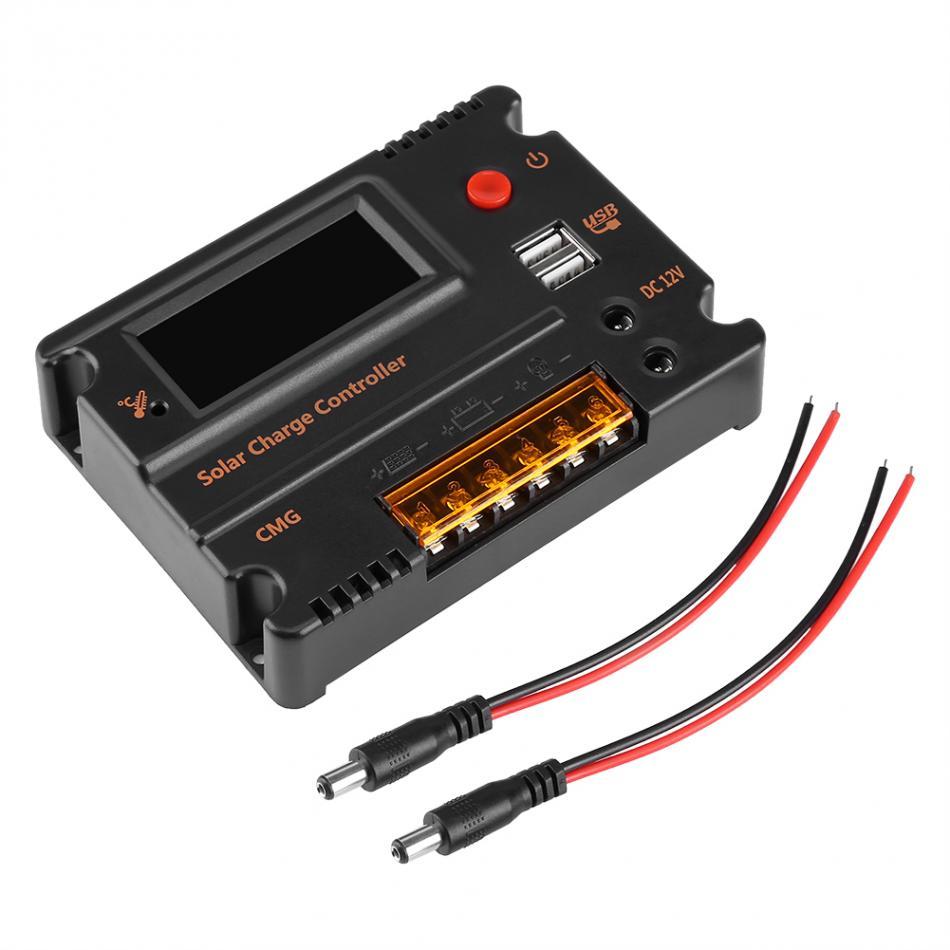 Hot Charge Controller Solar Panel Battery Regulator Dual USB LCD Display Voltage Regulator Solar Controller functional