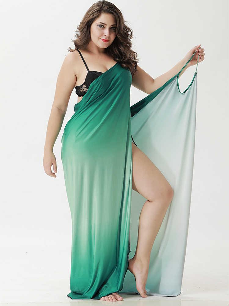 Wipalo для женщин; Большие размеры градиент печати Пляжная накидка платье приморский для отпуска, в богемном стиле летнее платье Повседневная накидка Up Vestidos 5XL