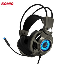 Somic G954 Vibration Gaming Headset 7.1 Virtual Surround USB Game Earphone Headphones with Mic for computer Laptop Gamer(China)
