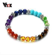 Vnox 7 Chakra Bracelet for Women Men Colorful Lava Healing Balance Beads Reiki Buddha Prayer Natural Stone Yoga Bracelet Jewelry(China)