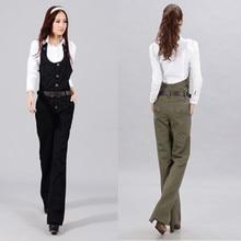ファッション綿黒のエレガントな 新ビブパンツジャンプスーツとロンパース女性のズボン正式な 送料無料 Ol