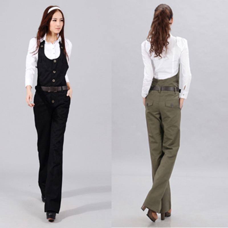 Spedizione gratuita 2019 Nuovi pantaloni con bretelle Tuta e pagliaccetti Pantaloni gamba dritta da donna Pantaloni eleganti in cotone nero elegante