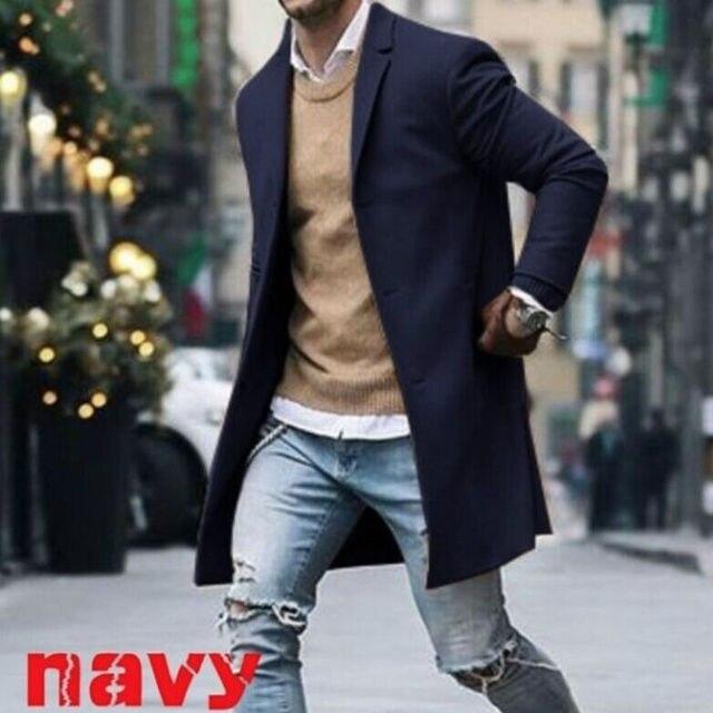 新しい男性綿ブレンドスーツデザイン暖かいコートメンズカジュアルトレンチコートのデザインスリムフィットオフィススーツジャケットコートドロップ無料