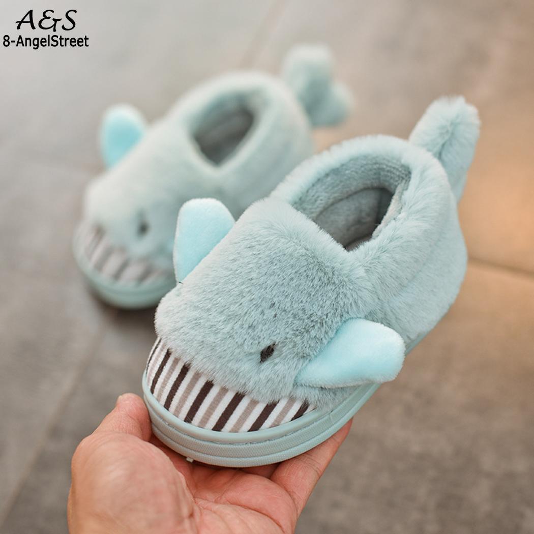 Children Casual Cute Animal Soft Patchwork Non-Slip Winter Print Slip-on Rubber Coral Fleece Cotton Shoes