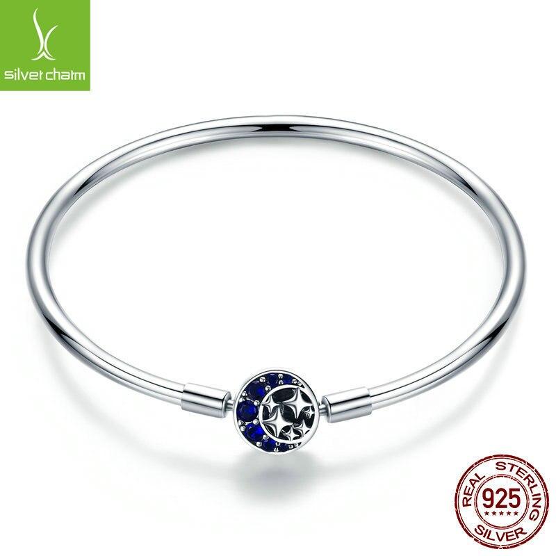 Véritable 100% 925 argent Sterling bleu CZ lune et étoile Bracelet et bracelets pour femmes bijoux en argent Sterling S925