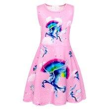 AmzBarley Girls summer dress Rainbow Unicorn Girls Dresses Sleeveless clothes Birthday Party Fancy costume for 3-13 Years цена и фото