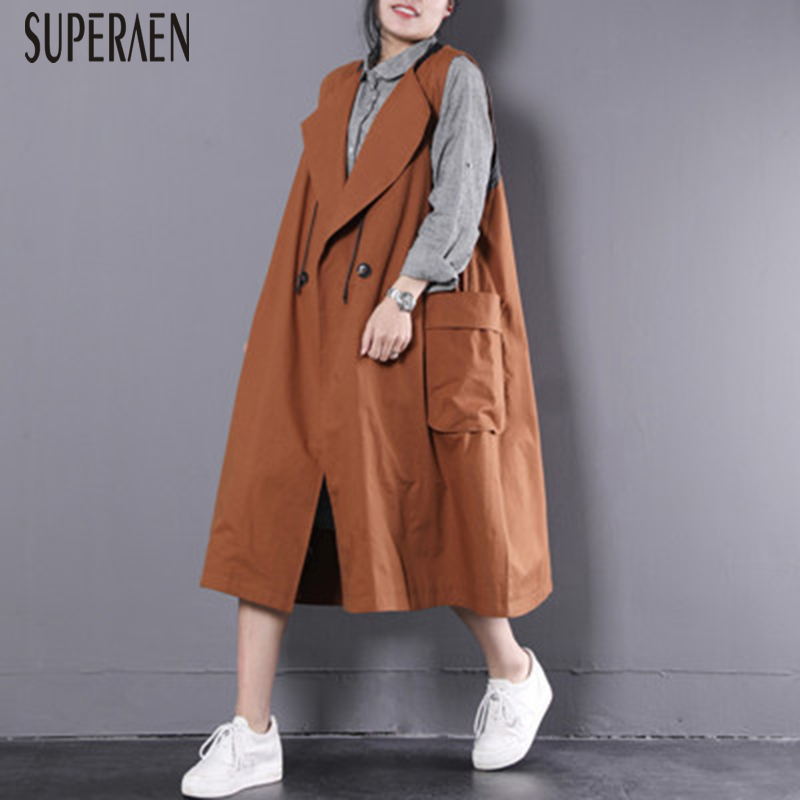 SuperAen 2019 Spring New Korean Style Sleeveless   Trench   Coat for Women Cotton Wild Loose Pluz Size Women's Windbreaker New