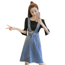 цены Spring Summer Women Fashion Strap Denim Dress Sundress A-line Overalls Dress Vintage Blue Female Jeans Dresses