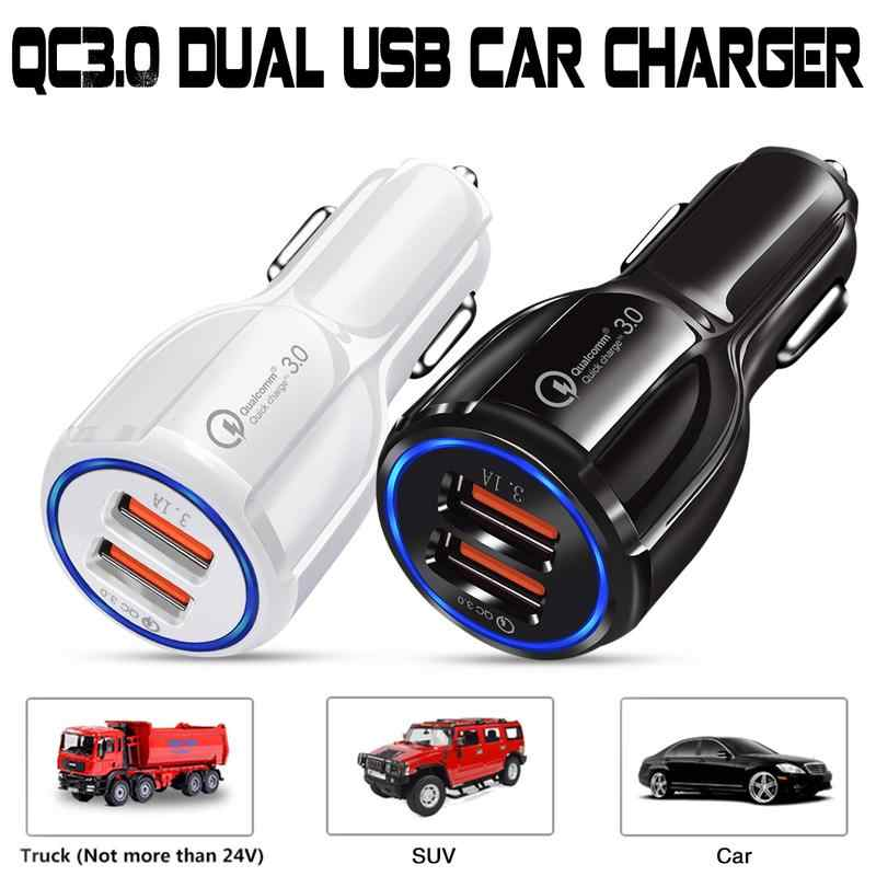 12-24V Car USB Charger Quick Charge Micro Intelligent Type Cable 2 Port Mobile Phone Charging For Iphone Android For Suv