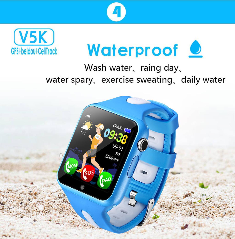 Crianças rastreador relógio relógios à prova dwaterproof água chamada sos localização câmera anti-perdido dispositivo rastreador monitor do bebê relógio v5k