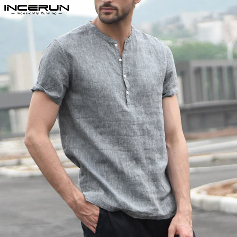 INCERUN Fashion Brand Shirt Men Short Sleeve Stand Collar Button Streetwear Tops Basic Casual Shirts Men Camisa Masculina 2019