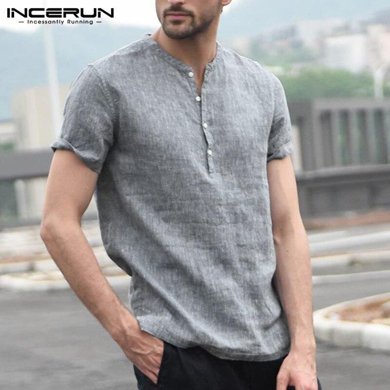 Marca de Moda Incerun Camisa Masculina Manga Curta Gola Botão Streetwear Topos Básicos Camisas Casuais 2020