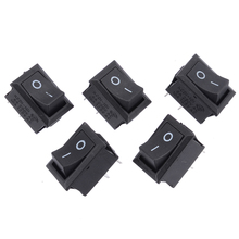 5pcs 2 Pin SPST On/Off Momentary Off Rocker Switch AC 250V/6A 125V/10A for TV computer Phone Boat Car Rocker Switch Black spst snap in mini boat rocker switch ac 250v 3a 125v 6a 2 pin on off 10 15mm