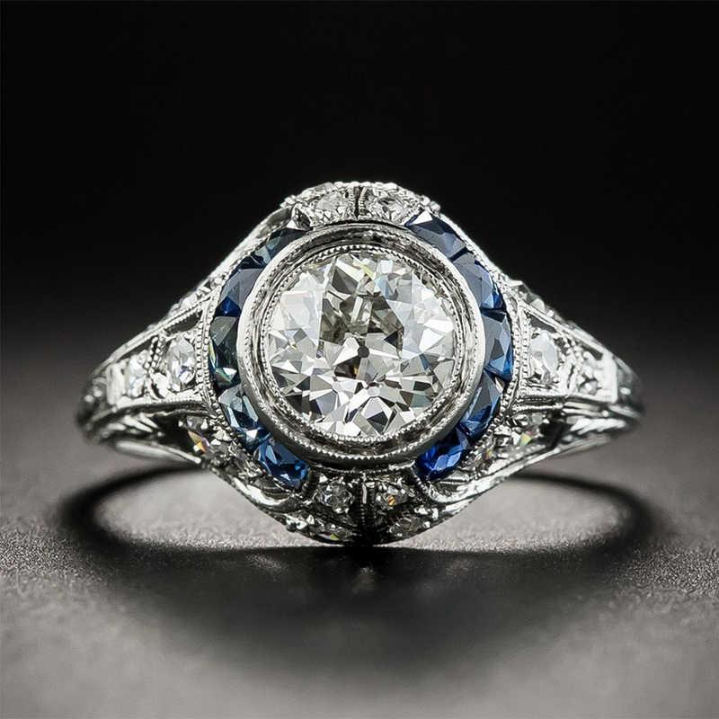 Nasiya 925シルバーサファイア宝石ラウンドホワイトジルコン結婚式の婚約指輪ファインジュエリーリングギフト卸売