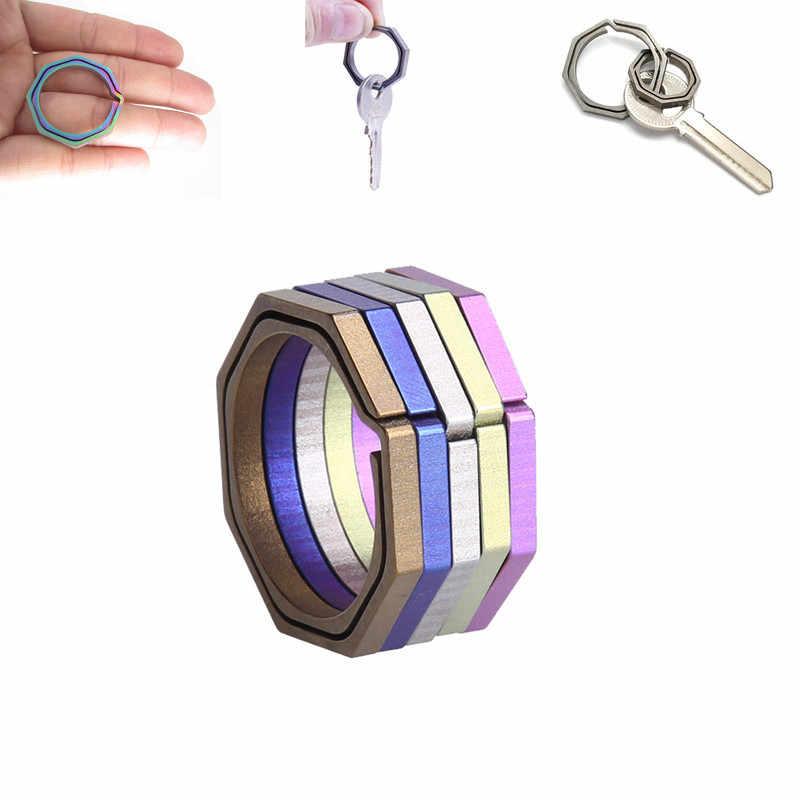 TC4 Ti Saku Hook Gesper Kunci Multi Alat Gadget Hang EDC Gear Camp Kenaikan Outdoor Klip Kit Octagon Titanium Gantungan Kunci gantungan Kunci Ring
