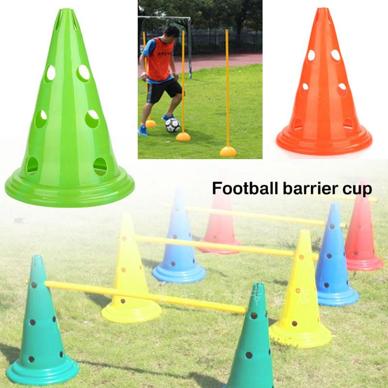 4PCS Football Basketball Obstacle Road Cone With Hole Mark Tube Roadblock Barrier Bucket Training Equipment Plastic Traffic Cone