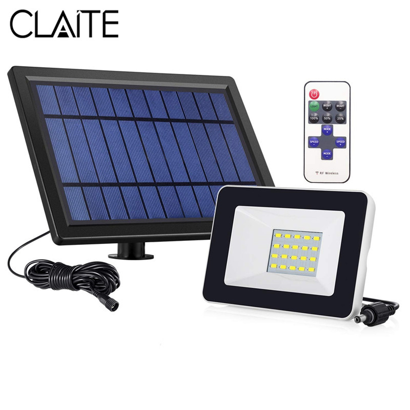 цены CLAITE Solar LED Flood Light RF Remote Control Outdoor Waterproof 21 LED Wall Lamp Flood Light for Outdoor Garden Landscape Lamp