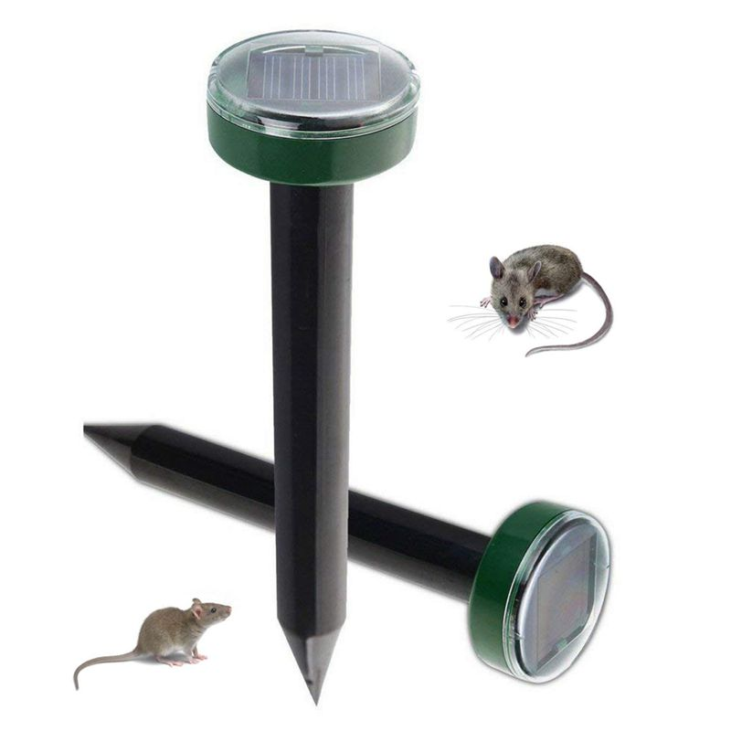 2 Pieces Solar Energy Ultrasonic Outdoor Animal Repellent Weatherproof For Outdoor Garden Lawn
