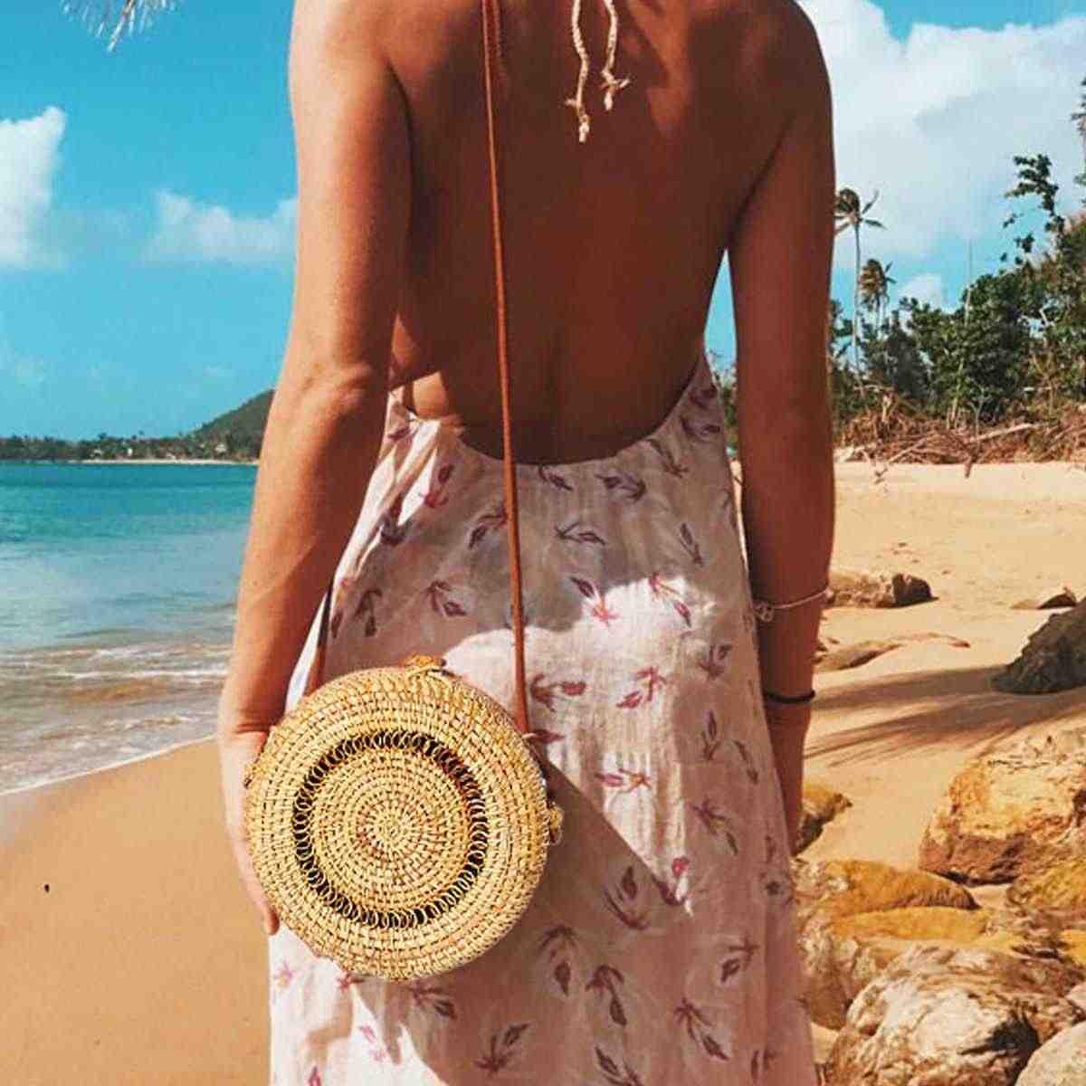 2019 Novos Sacos para As Mulheres Círculo Verão Handwoven Palha Rattan Bali Bohemian Rodada Praia Retro Ombro Ocasional Saco Crossbody