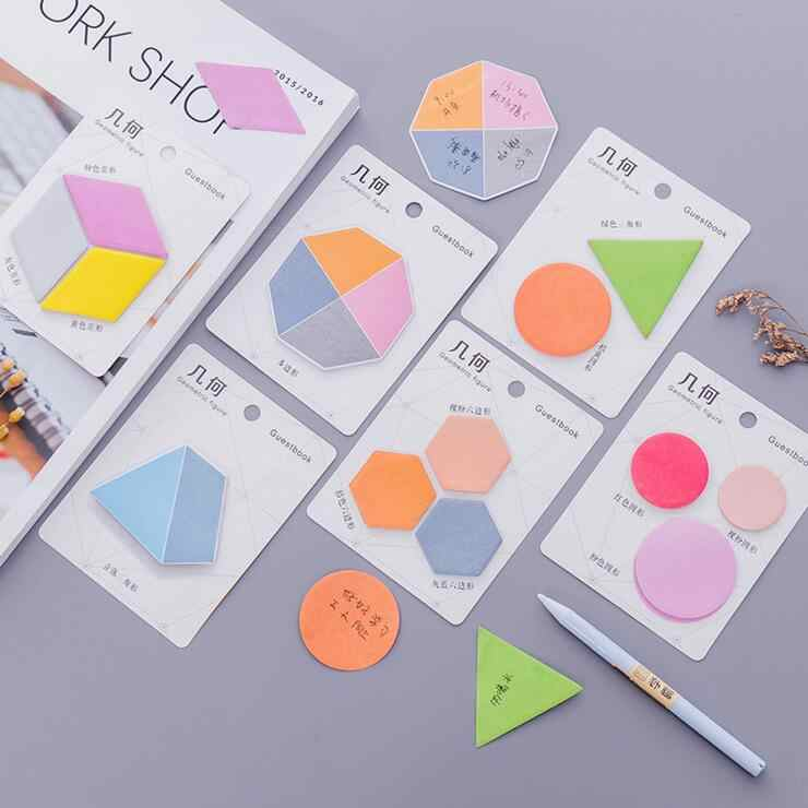 Ellen Brook 1 Potongan DIY Kawaii Geometris Sticky Notes Kreatif Post Notepad Agenda Memo Bantalan Kantor Sekolah Stationery