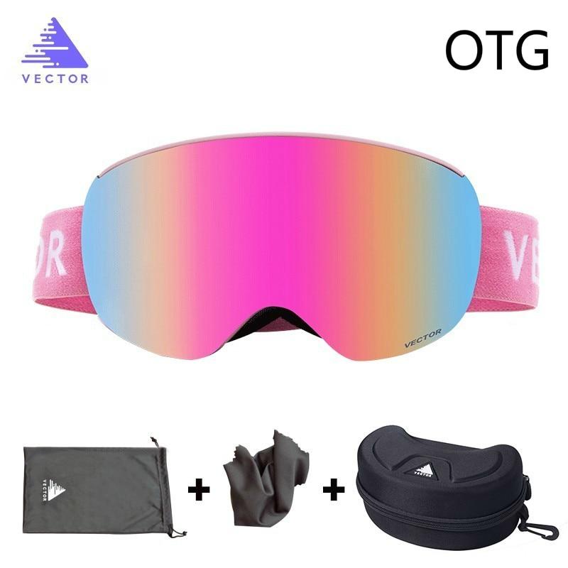 Lunettes de Ski OTG avec étui lunettes sans monture Sport de neige verres sphériques interchangeables Double couche Ski Snowboard Anti-buée
